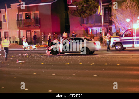 Las Vegas, NV, USA - FEBRUARY 28: Collision of 2 cars on Sahara road at 7pm, February 28 th, 2012 in Las Vegas, - Stock Photo