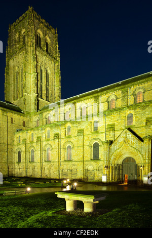 Durham Cathedral at dusk. Durham Cathedral has been described as 'one of the great architectural experiences of - Stock Photo