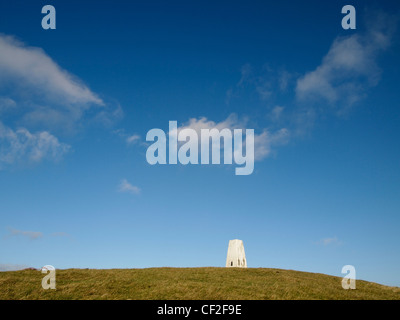 White trig point on summit of Moel Bentyrch, Wales - Stock Photo