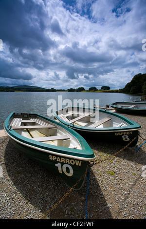 Rowing boats on the shore of the Talkin Tarn near Carlisle. - Stock Photo