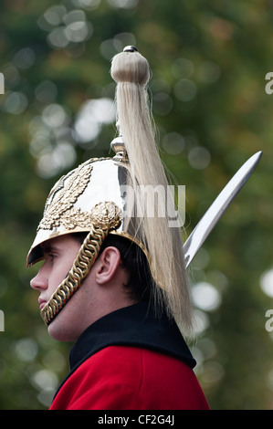 A trooper from the Life Guards on duty in London. - Stock Photo