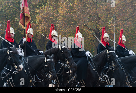 The Blues and Royals on parade at Horse Guards. - Stock Photo