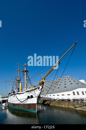 HMS Gannet, a Victorian naval sloop and now a visitor attraction at the Historic Dockyard Chatham. - Stock Photo