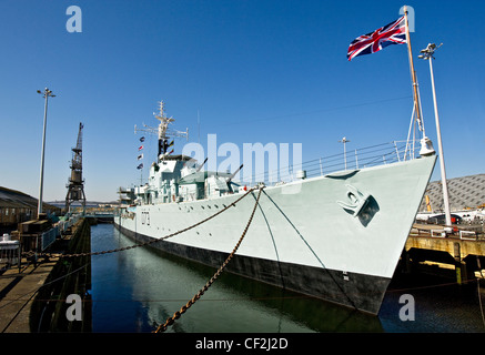 HMS Cavalier (D73), the Royal Navy's last operational Second World War destroyer in her dock at the Historic Dockyard - Stock Photo