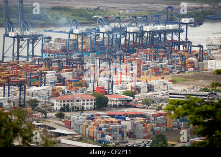 container and cranes at the harbour Puerto de Balboa, Panama City, Panama, Central American - Stock Photo