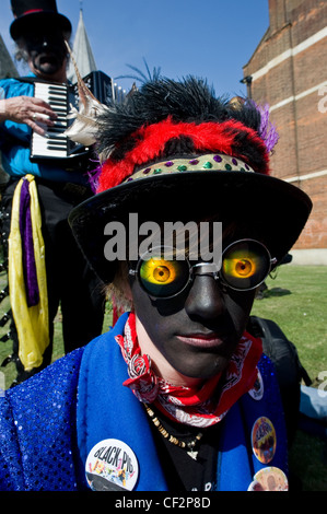 A Morris Dancer from Black Pig Border Morris at the annual Sweeps Festival in Rochester. - Stock Photo