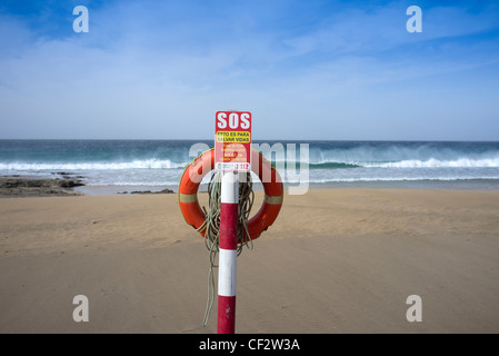 lifebelt on a beach fuerteventura - Stock Photo