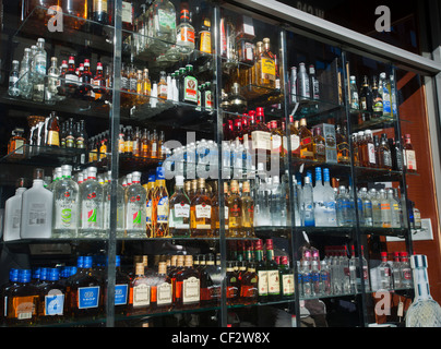 A selection of bottles in the window of a liquor store in New York is seen on Tuesday, February 28, 2012. (© Richard - Stock Photo