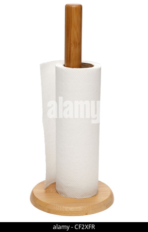 Wooden kitchen roll holder and paper roll - Stock Photo