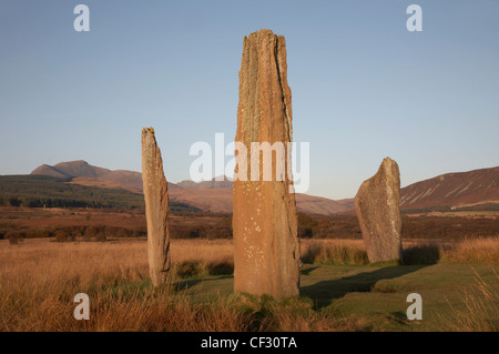 Standing stones dating from around 1800-1600 BC at Machrie Moor on the Isle of Arran. - Stock Photo