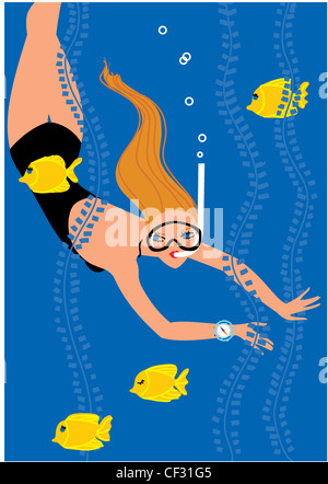 Wellbeing horoscopes Pisces Illustration of a female long blonde hair, wearing a black swimsuit, blue compass, snorkelling - Stock Photo
