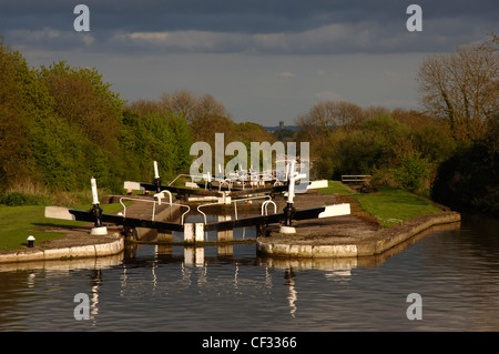 View south over Hatton Locks on the Grand Union Canal towards Warwick. - Stock Photo