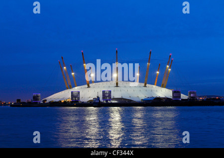 The O2, a large entertainment venue on the Greenwich peninsula which houses the O2 arena, built within the former - Stock Photo