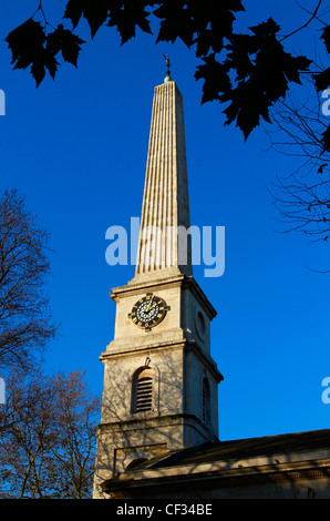 The obelisk spire of St Luke, a historic Anglican church now a music centre operated by the London Symphony Orchestra - Stock Photo
