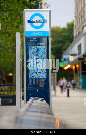 A Barclays Cycle Hire docking station. - Stock Photo