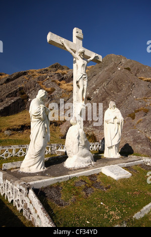 Crucifix And Holy Statues At The Top Of Healy Pass; County Cork Ireland - Stock Photo