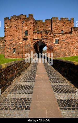 Entrance to Carlisle Castle in Cumbria. - Stock Photo