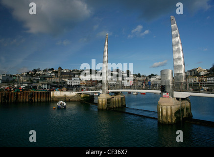 Torquay harbour bridge and sailing boats at the marina in Devon. - Stock Photo