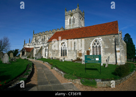St Peter's church which is an old Saxon sanctuary in Wootton Wawen. - Stock Photo