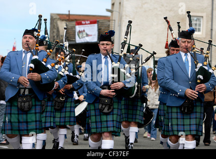 A Scottish Pipe Band at the Portsoy Music Festival. - Stock Photo