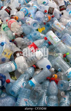 plastic bottles in a recycle bin - Stock Photo