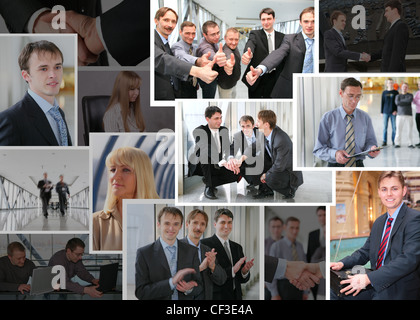 Collection of many business photos with people, collage - Stock Photo