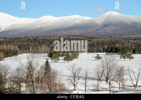 A winter view of New Hampshire's White Mountains from the porch of the Omni Mount Washington Hotel - Stock Photo