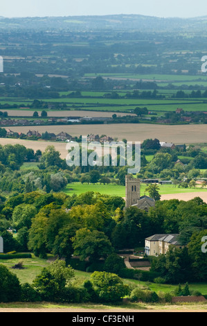 Overlooking the village of Ellesborough and surrounding countryside from Coombe Hill. - Stock Photo