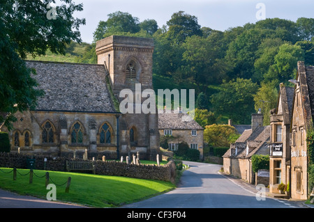 A view of the Church of St. Barnabas in the picturesque village of Snowshill. - Stock Photo