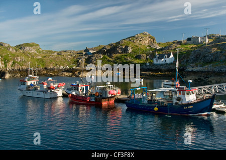A view of the harbour at Scalpay just off of the Isle of Harris. - Stock Photo