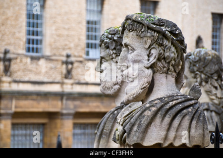 Close-up of the statues outside the Sheldonian Theatre in Oxford. - Stock Photo