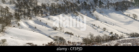 Panoramic view of the Hole of Horcum in the North York Moors National Park during winter time. - Stock Photo