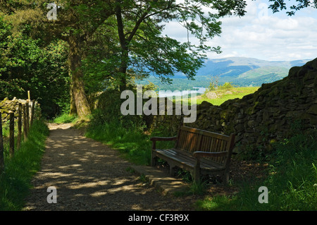 Lake Windermere from the footpath leading up to Orrest Head. - Stock Photo