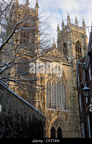 The West Front of York Minster in winter. - Stock Photo