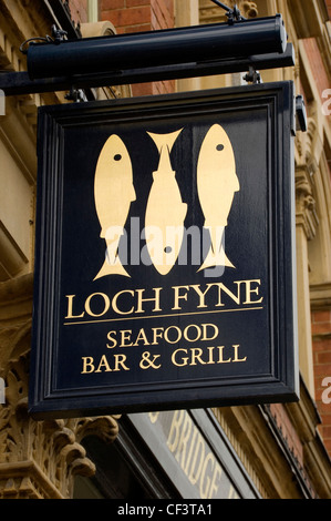 Loch Fyne seafood bar and grill sign. - Stock Photo