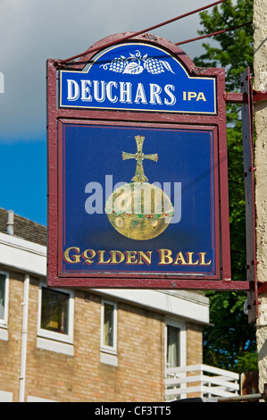 The Golden Ball pub sign Victor Street. The pub has been granted Grade II listed status by English Heritage in June - Stock Photo