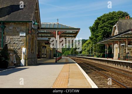 Grange-over-Sands railway station, built in 1864. - Stock Photo