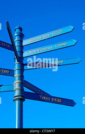 Signpost showing distances and directions of Captain Cook's voyages from Whitby. Captain Cook began his training - Stock Photo