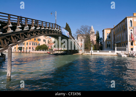 Ponte dell'Academia bridge over Grand Canal, connecting Dorsoduro and San Marco districts - Venice, Venezia, Italy, - Stock Photo