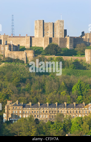 A view of Dover Castle at sunset - Stock Photo