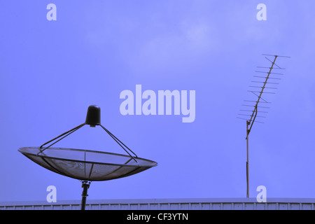 TV aerial and satellite dish fixed to the roof - Stock Photo