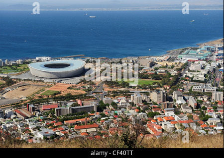 Green Point Stadium and western suburbs of Cape Town from Signal Hill, Western Cape, South Africa - Stock Photo