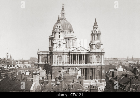 St. Paul's Cathedral, London, England in the late 19th century. From London, Historic and Social, published 1902. - Stock Photo