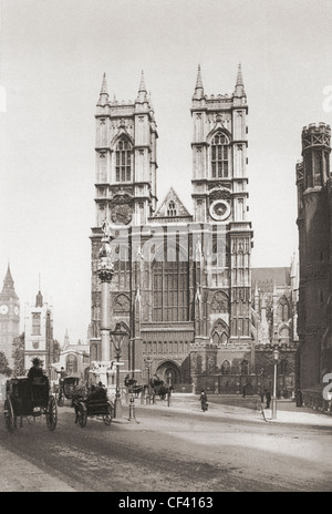 The Collegiate Church of St Peter at Westminster, popularly known as Westminster Abbey, late 19th century - Stock Photo