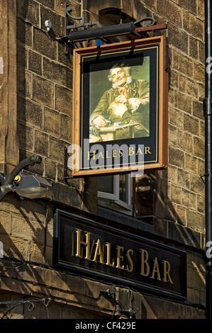 Hanging sign above the entrance to Hales Bar, Harrogate's only traditional gas-lit bar. - Stock Photo