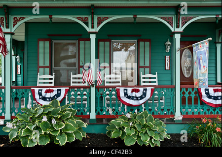 Victorian house and gardens, Cape May, NJ, USA - Stock Photo
