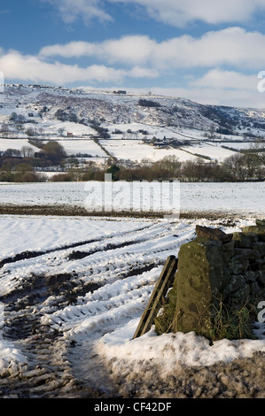A snow covered view of Rosedale Valley in North Yorkshire. - Stock Photo