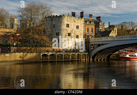Lendal Tower and Lendal Bridge with York Minster in the background. - Stock Photo