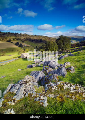 View over the rugged slopes of Wharfedale in the Yorkshire Dales. - Stock Photo