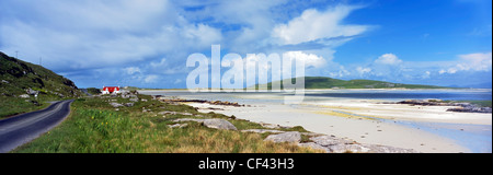 View across the beach towards Barra airport in the Outer Hebrides. - Stock Photo